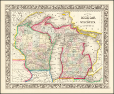 County Map of Michigan and Wisconsin By Samuel Augustus Mitchell Jr.