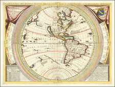 Western Hemisphere, Pacific and America Map By Vincenzo Maria Coronelli