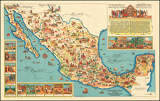Pictorial Map of Mexico By Fischgrund Publishing Company
