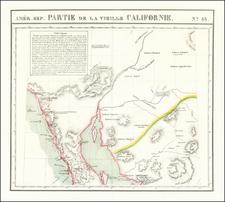 Arizona, Mexico, Baja California and California Map By Philippe Marie Vandermaelen