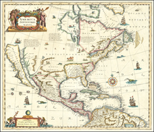 North America and Curiosities Map By Anonymous