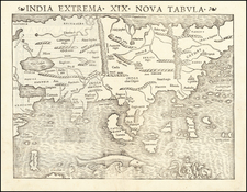 India Extrema XIX Nova Tabula  (Rare Early State of the First Printed Map of Asia) By Sebastian Munster