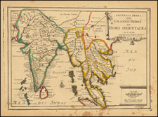 India, Southeast Asia, Malaysia and Thailand, Cambodia, Vietnam Map By Nicolas de Fer