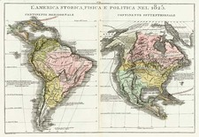 North America, South America and America Map By Girolamo Tasso