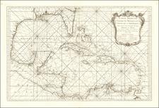 Carte Reduite Du Golphe Du Mexique Et Des Isles De L'Amerique Pour servir au Vaisseaux du Roy . . .   Annee 1749 By Jacques Nicolas Bellin