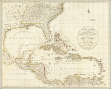 Florida, South, Southeast, Caribbean, Central America and American Revolution Map By John Cary