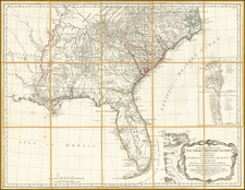 A General Map of the Southern British Colonies in America, comprehending North and South Carolina, Georgia, East and West Florida and the Neighboring Indian Countries.  From the Modern Surveys of Engineer de Brahm, Capt. Collet, Mouzon & Others; and from the Large Hydrographical Survey of the Coasts of Eat and West Florida.  By B. Romans, 1776 By Robert Sayer  &  John Bennett
