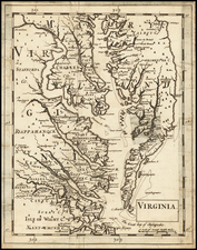 Maryland, Delaware, Southeast and Virginia Map By Sir Jonas Moore