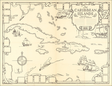 Caribbean, Cuba and Pictorial Maps Map By Dr. Gilbert Q. LeSourd