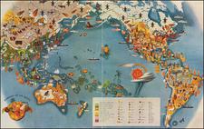 World, Pacific Ocean, Pacific and Pictorial Maps Map By Miguel Covarrubias