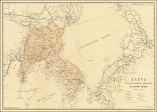 Russia, Japan and Korea Map By Corps of Topographers (Russian Empire)