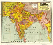 India and Thailand, Cambodia, Vietnam Map By D.S. Biba Singh