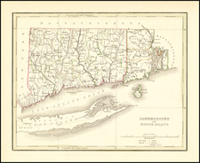 Connecticut and Rhode Island Map By Thomas Gamaliel Bradford