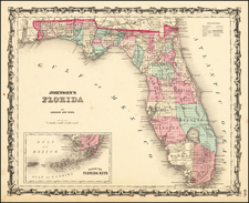 Florida Map By Alvin Jewett Johnson  &  Benjamin P Ward