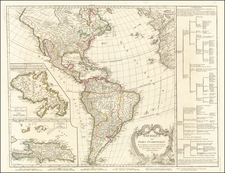 Hispaniola and America Map By Didier Robert de Vaugondy / Charles Francois Delamarche