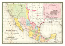 Texas, Plains, Southwest, Rocky Mountains, Mexico and California Map By Samuel Augustus Mitchell
