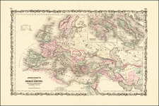 Europe, Balkans, Italy and Mediterranean Map By Alvin Jewett Johnson  &  Browning