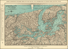 Washington and Canada Map By Puget Sound Navigation Company