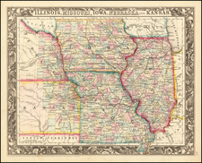 Illinois, Iowa, Kansas and Missouri Map By Samuel Augustus Mitchell Jr.