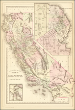 California and San Francisco Map By Samuel Augustus Mitchell Jr.