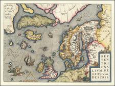 Atlantic Ocean, British Isles, Scandinavia and Balearic Islands Map By Abraham Ortelius