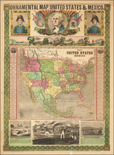 United States, North America and Mexico Map By Ensign & Thayer