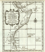 Africa and East Africa Map By Jacques Nicolas Bellin