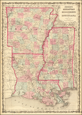 Louisiana, Mississippi and Arkansas Map By Benjamin P Ward  &  Alvin Jewett Johnson