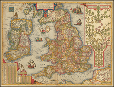 British Isles and England Map By Abraham Ortelius / Johannes Baptista Vrients