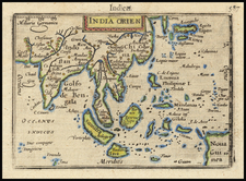 India, Southeast Asia, Philippines, Indonesia, Malaysia and Thailand Map By Petrus Bertius