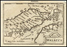 Singapore and Malaysia Map By Petrus Bertius