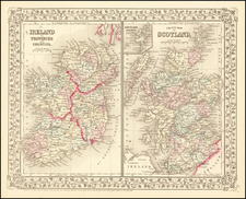 Scotland and Ireland Map By Samuel Augustus Mitchell Jr.