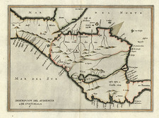 Mexico and Central America Map By Antonio de Herrera y Tordesillas