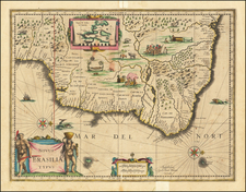 Brazil Map By Willem Janszoon Blaeu