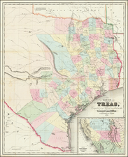 Texas Map By J. Eppinger  &  Francis C. Baker