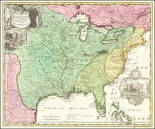 Amplissimae Regionis Mississipi Seu Provinciae Ludovicianae A R.P. Ludovico Hennepin Francisc Miss In America Septentrionali Anno 1687  . . . By Johann Baptist Homann