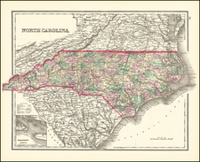 North Carolina Map By O.W. Gray