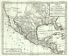 Texas, Midwest, Southwest and Mexico Map By Louis Brion de la Tour