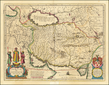 Asia, Central Asia & Caucasus and Middle East Map By Willem Janszoon Blaeu
