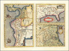Florida, South, Southeast and Central America Map By Abraham Ortelius