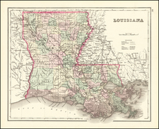 Louisiana Map By O.W. Gray