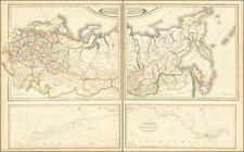 Russia, Ukraine, Turkey, Central Asia & Caucasus and Russia in Asia Map By Daniel Lizars