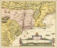 New England, New York State, Mid-Atlantic and Virginia Map By Nicolaes Visscher I