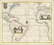 Atlantic Ocean, United States, New England, Mid-Atlantic, Florida, Southeast, Caribbean, South America and Africa Map By Charles Price  &  Jeremiah Seller