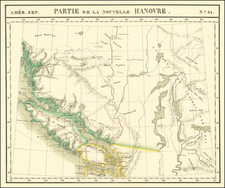 Washington and Canada Map By Philippe Marie Vandermaelen