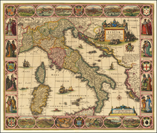 Italy Map By Claes Janszoon Visscher