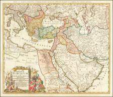 Turkey, Middle East and Turkey & Asia Minor Map By Johann Baptist Homann