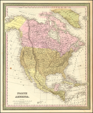 North America Map By Samuel Augustus Mitchell