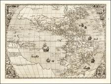 Western Hemisphere and America Map By Hernando de Solis