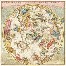 Planisphere Celeste Septentrional Par Monsr. De La Hire . . . 1760 By Nicolas de Fer / Guillaume Danet